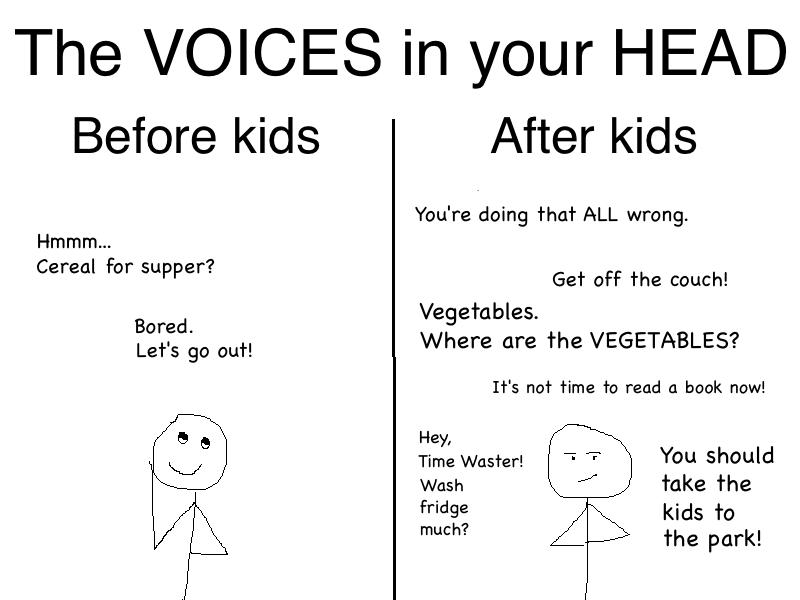 Voices in your head before and after kids